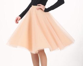Circle tulle skirt, Handmade tutu skirt, High quality skirt, champagne skirt, petticoat, Women's clothing