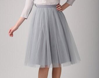 Grey tulle skirt, Light tulle skirt, Handmade tutu skirt, Adult tulle skirt, Adult tutu skirt, Tulle petticoat
