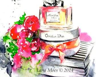 Miss Dior Fashion Watercolor Painting, Dior Still Life Illustration, Fragrance of Paris Art Print by Lana Moes, Parisian Style Decor