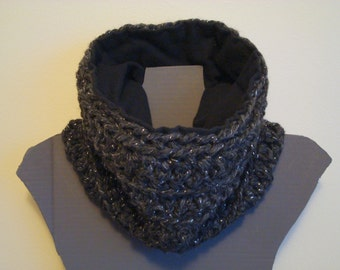 Cowl Scarf, Flannel Lined, Charcoal Gray Yarn with Silver Shimmer, Black Fleece or Flannel, Chunky Crochet Neck Warmer, Custom MADE TO ORDER