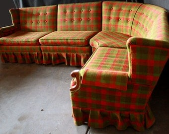 Vintage Retro Mid Century Green Red Sectional Sofa Couch