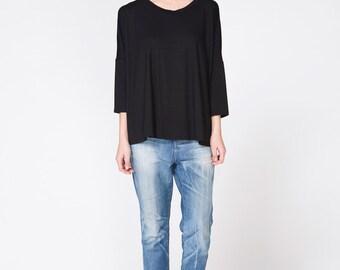 Black T Shirt, Asymmetric Top, Oversized Shirt, Long Sleeve Shirt, Casual Top, Wide Shirt, Oversized Blouse, Black Shirt, Loose Black Blouse