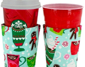 Beverage Cup Insulator Designer Coffee Lovers Fabric PocketHuggie-Handmade,Reusable,CUP SIZE- Hot/Cold Cup,Solo Cups,Soda,Beer, #Starbucks