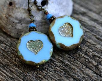 Blue Heart Earrings, Valentines day gift, Blue Glass earrings, Beaded Earrings, Heart Jewelry, Romantic Earrings, gift for her by MayaHoney