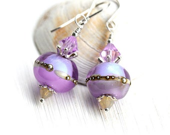 Tender Lilac Earrings, Lampwork glass Earrings, Lavender Beaded Earrings, Sterling silver,  Bohemian Jewelry by MayaHoney