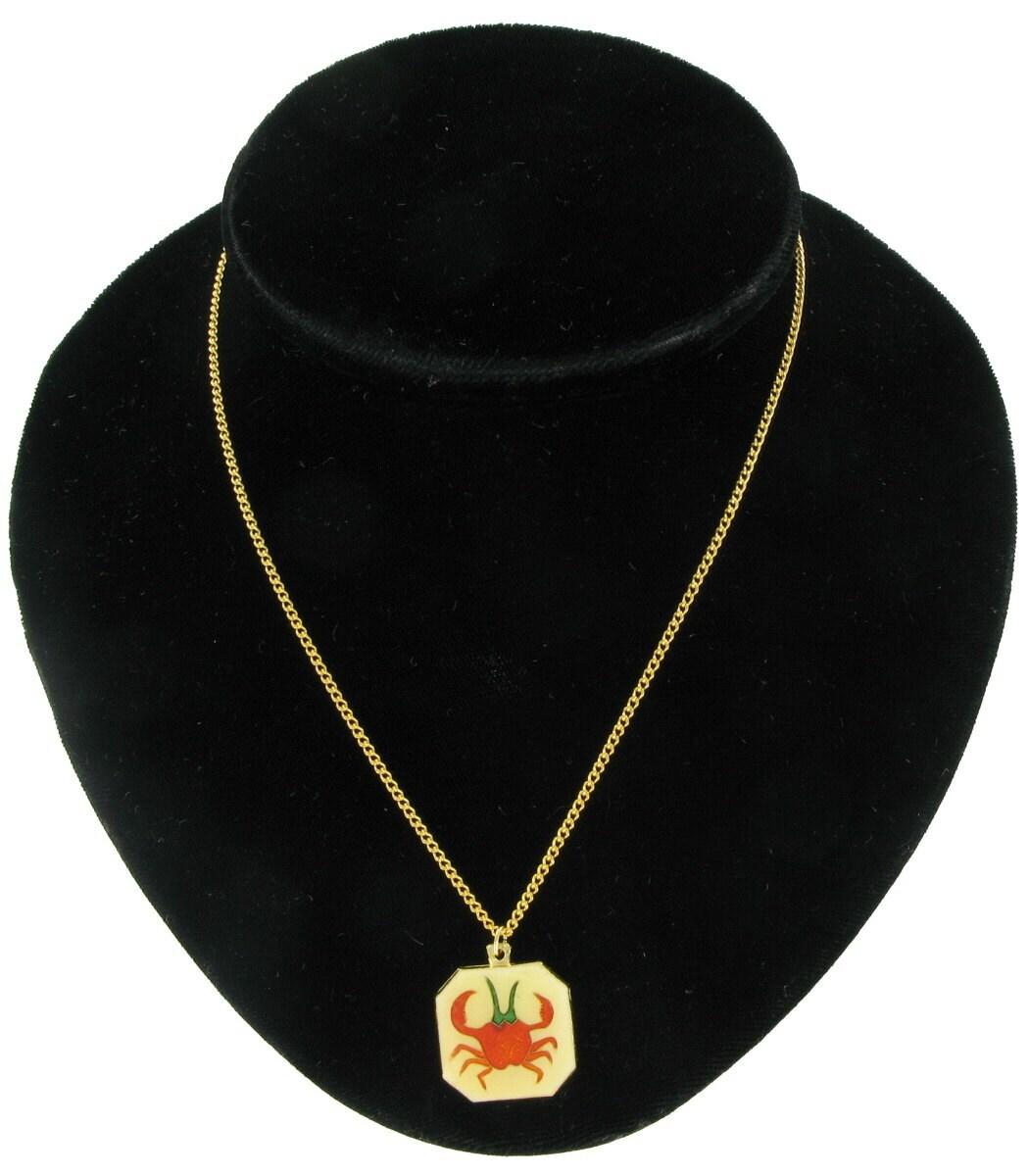 cancer zodiac sign horoscope enamel pendant necklace vintage