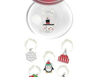 Holiday Wine Charms, Christmas Wine Charms, Christmas Glass Tags, Christmas Glass Markers, Wine Glass Charms, Christmas Gifts, Holiday Gifts