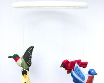 Bird Baby Mobile, Nursery Bird Decor, Bird Mobiles Hanging, Colorful Mobile,Bird Mobile Nursery,Whimsical Mobile
