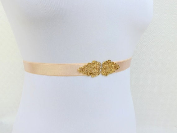 Light peach elastic waist belt, Gold vintage style filigree buckle. Stretch skinny dress belt. Bridal/ Bridesmaid Wedding Belt