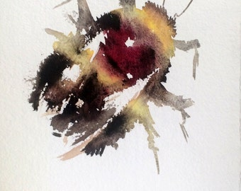 Bumblebee, Original watercolor painting, 9,5 X 7,5 in, bee art, bee painting, bumblebee watercolor art