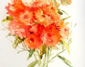 Calendulas, original watercolor painting,1 2 X 9 in, orange flowers art