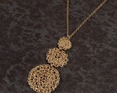 Disc Crochet Round Long Pendant, Gold Long Necklace, 14K gold filled, Set Necklace,
