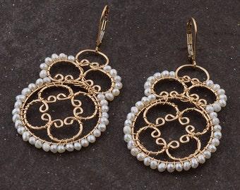 Pearls Ethnic Earrings, Large Statement Earrings, Mandela Jewelry, 14K Gold Filled, Boho Chic, Large Dangle Earrings, Semi Precious Stone,