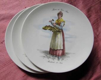 French Beautiful Dessert Plates-  Metiers du vieux Paris-Porcelaine Limoges  des Brémailles
