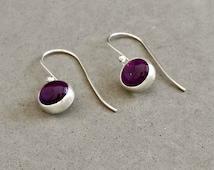 Sterling Silver Amethyst Earrings, Silver Drop Earrings, February Birthstone, Aquarius, Pisces, Purple Gemstone, Purple Earrings, Dainty