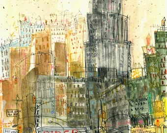 Empire State Building New York City Art, City Watercolor Painting, Signed Limited Edition, Mixed Media Drawing Diner