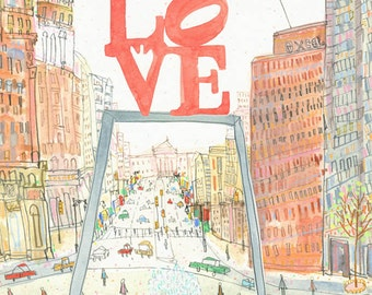 LOVE PARK Philadelphia Art, Philly JFK Plaza, Love Sculpture Sign, Watercolor Painting, City Buildings, Love Statue Drawing, Clare Caulfield