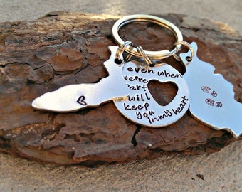 Long Distance Relationship Keychain - Deployment Jewelry - Deployment Gift - Deployment Care Package - Marine Wife - Navy Wife - Army Wife