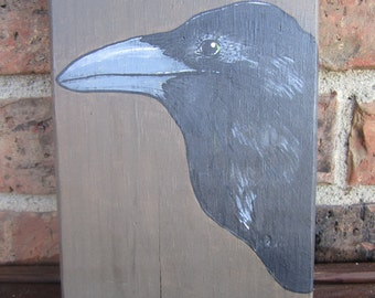 Autumn Crow //Reclaimed Wood Painting// Acrylics