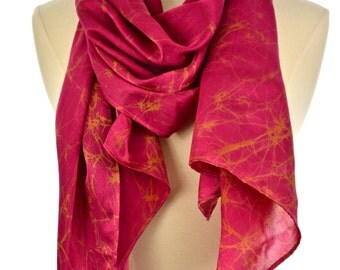 Pink Silk carves,Hand made pink & Brown scarf.Batik long scarf.women's neck wear.