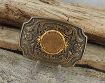 Western Belt Buckle - Cowboy Belt Buckle - Antique Gold  Tone        with Sacagawea Dollar