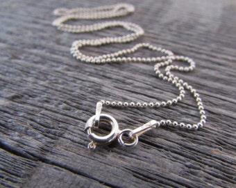 Sterling Silver Ball Chain, 20 Inch Chain, 1mm Chain, Silver Bead Chain, Sterling Silver Bead Chain, 925 Chain, Italian Silver Chain