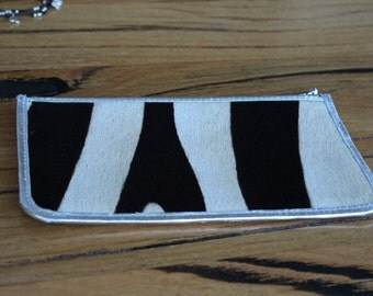 Cow Hide Purse with Silver Zip & Binding