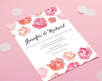 Peonies Blush Wedding Invitation - wedding stationery