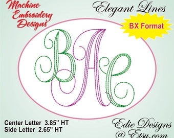 Swirl Elegant Lines Monogram Fonts BX Format Machine Embroidery Designs Digital Download