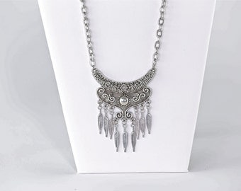 Silver feather festival necklace