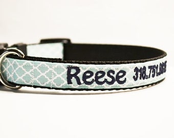 NEW:Personalized - Aqua Moroccan Dog Collar - Made to order