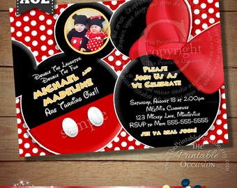 YOU CHOOSE Mickey Mouse Invitation For Twins, Minnie Mouse Invitation For Twins, Mickey And Minnie Mouse Invitations