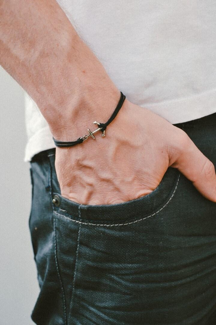 Top Ancre de bateau bracelet cordon bracelet homme breloque IR33