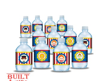 Circus theme water bottle labels/DIY/ Instant Downlaod/ Carnival party