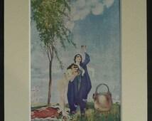 Vintage Romantic Persian Print of Young Lovers from the 'Rubaiyat of Omar Khayyam' Vintage Arabian romance art, Golden Age Book Illustration