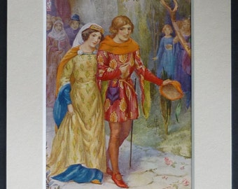 Vintage Romantic Print of a Medieval Wedding by Harry George Theaker, 1930's wedding gift, historical romance, vintage Valentines gift idea