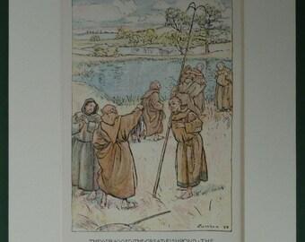 Antique Arthur Rackham Print of Fishing Monks Victorian catholic illustration, 19th century fishing engraving - Angling Gift - Monk Decor