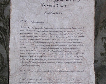 A Connecticut Yankee in King Arthur's Court - Antiqued reproduction of first page