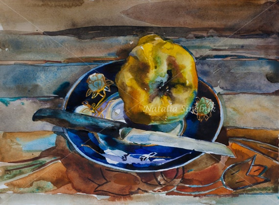 Watercolor still life with quince on the plate and knife digital download from original watercolor kitchen illustration, fall autumn clipart