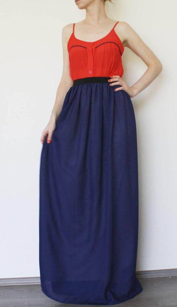 items similar to maxi skirt navy blue chiffon on etsy