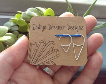 Silver spike earrings | Sterling silver earring | Silver triangle earrings | Simple silver earrings | hammered earrings