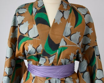 Vintage Silk Kimono, Robe, Dress