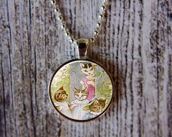 The Tale of Tom Kitten Pendant, Beatrix Potter Necklace, Kitten Necklace, Cat Necklace, Cat Pendant, Mothers Day Gift,  Gift Under 15