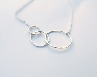 Hammered Circles, Sterling Silver Infinity Necklace - Three Circle Necklace, 3 Circles - Asymmetrical Linked Rings, Large Small Pendant,
