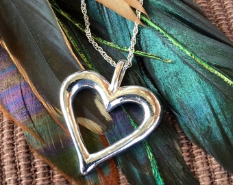 "Sterling Silver Heart Pendant on 18"" Sterling Silver Chain (st - 1243)"