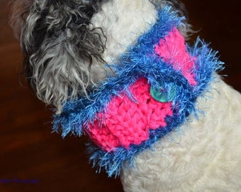 Dog Scarf/Cowl  Crochet in Chunky Pink and Blue Yarn with Oversized Aqua  Button Size Medium