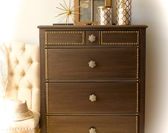 Metallic 4 drawer dresser
