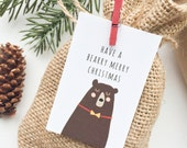 Christmas Gift tags. Bear woodland illustrated gift tags. Christmas wrapping. Set of 10