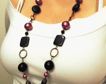Black, Fuchsia Pink, and Antiqued Brass Long Necklace - Beaded Necklace - Stone Beads - Acrylic Beads - Glass Pearls - Lia Sophia Inspired