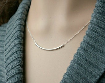 Curved Silver Bar Necklace / Sideways Long Bar Pendant on a Sterling Silver Chain ... Modern Contemporary & Simple